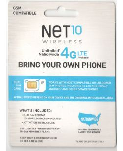 NeT 10 Wireless  Dual SIM Card GSM COMPATIBLE - Bring Your Own Phone