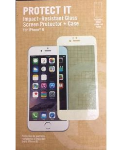 RadioShack 1711296 Protect It Impact-Resistant Glass Screen Protector + CLEAR Case for iPhone 6 - WHITE