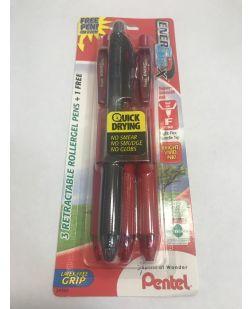 Pentel EnerGel-X Retractable Liquid Gel Pen, 0.5mm, Fine Needle Tip, 3 Red and 1 Black